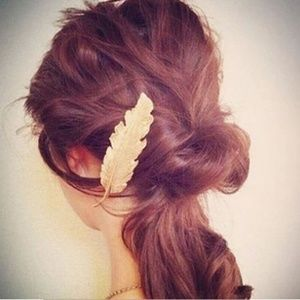 Accessories - Gold Leaf Feather Hair Clip Hairpin Barrette